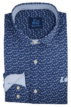 Camisa con estampado de flores cuello italiano