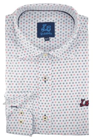 Camisa de estampado geométrico cuello italiano