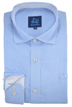 Camisa de cuadros Vichy cuello italiano