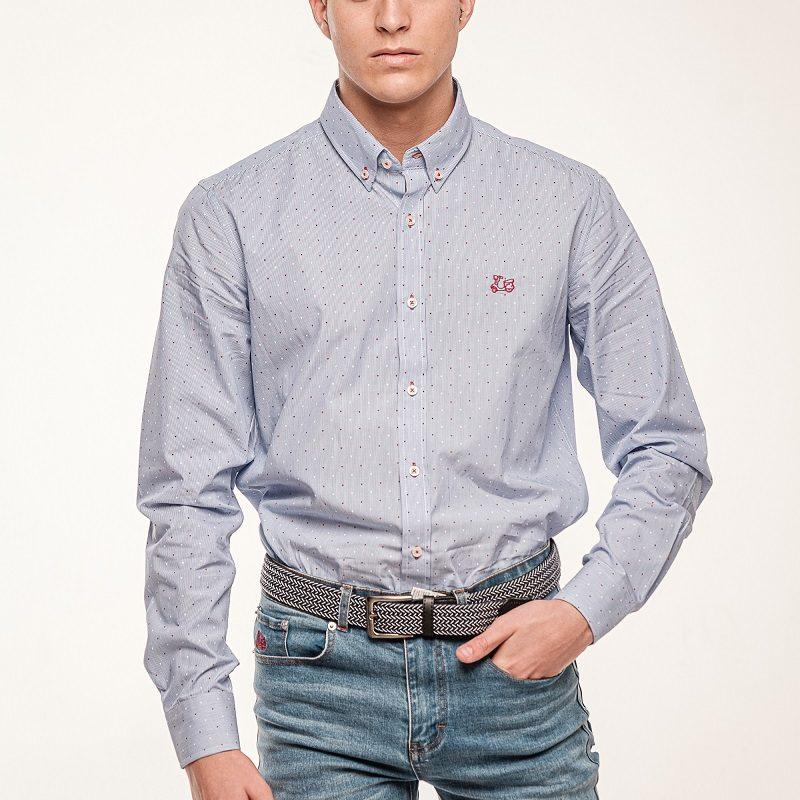 Camisa algodón milrayas estampado