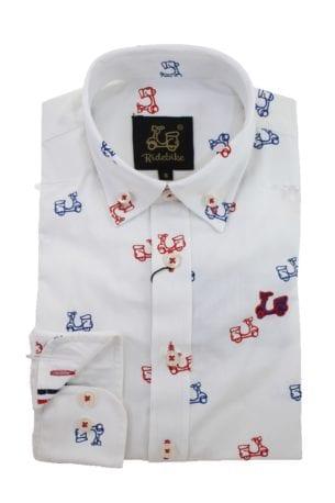 Camisa Niño Algodón Estampado Vespas